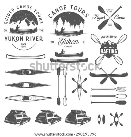 set of kayak and canoe emblems  ...