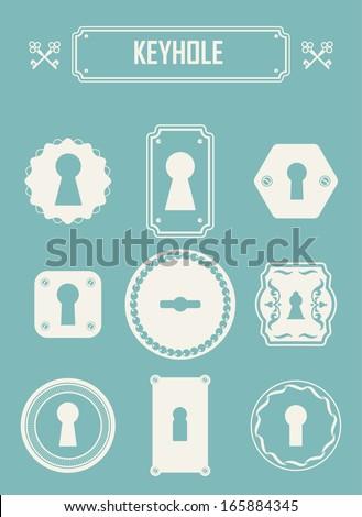 Set of keyholes. Vintage design elements. Keys labels. EPS 10