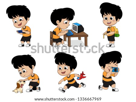 Set of kid activity,kid playing a game on phone,playing a computer,the luggage to travel,playing a dog,playing a toys,take a photo. Vector and illustration.