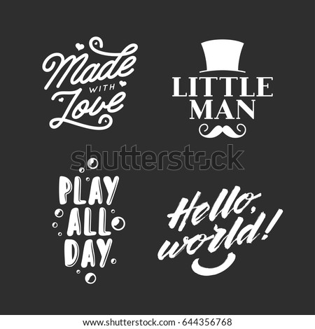 set of kid clothes typography