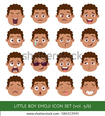 set of kid facial emotions