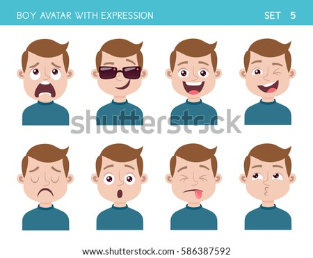 Set of kid facial emotions. Boy cartoon style character with different expressions. Vector illustration. Set five of six.