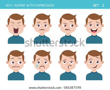 Set of kid facial emotions. Boy cartoon style character with different expressions. Vector illustration. Set two of six.