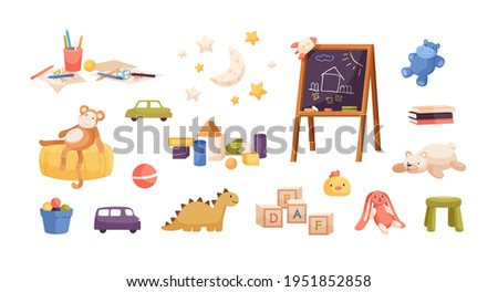 Set of kid plush and plastic toys, chalkboard, pencils, drawings, books, wooden building cubes and blocks for children's entertainment. Colored flat vector illustration isolated on white background