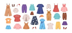 Set of kid's casual clothes. Child's garments for summer. Apparel, shoes and accessories for boys and girls. Colored flat vector illustration of dress, pants, jumpsuit isolated on white background