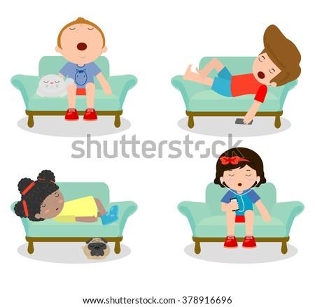 set of kid sleeping on sofa at