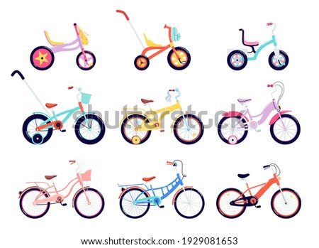 Set of kids and adults bicycles. A variety of two, three, and four-wheeled bicycles with different frame types. Collection of colored balance bikes. Vector illustration of male and female vehicles. Сток-фото ©