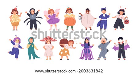 Set of kids disguised in funny and scary costumes for Halloween party. Happy children dressed in carnival clothes. Cute girls and boys in festival outfit. Flat vector illustration isolated on white.