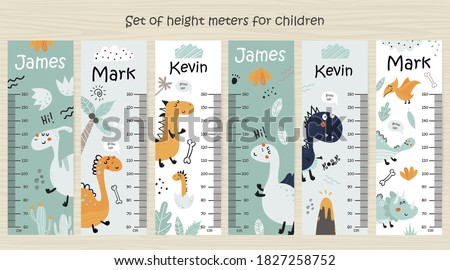 Set of Kids height chart. Vector isolated illustration with dinosaurs Сток-фото ©