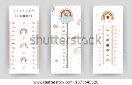 Set of kids height charts. Meter wall with cute boho rainbow. Vector illustration in doodle cartoon style. Childish growth chart. Poster template for nursery design. Stock photo ©