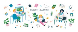 Set of kids studying online and various school supplies. Colorful vector illustration of the online learning or back to school concept. Isolated elements on white background.