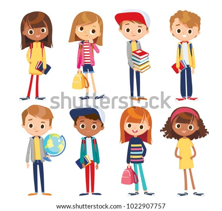 Set of kids with school supplies. School kids with books. Education vector.