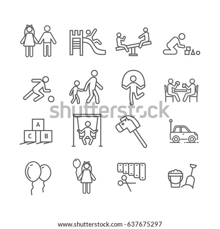 Set of kindergarten Related Vector Line Icons. Includes such Icons as playground, children, swings, roundabouts, toys, nursery, xylophone, blocks, aerial balls, sandbox