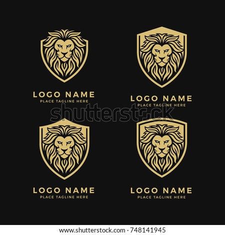 Set of King Lion Head Logo Template, Lion Strong and Gallant Face with Bushy Hair and Eye Glare Logo Golden Royal Premium Elegant Design, Brand Identity, Icon, Badge, Sticker, Emblem with Shield Frame