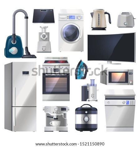 Set of kitchen appliance, electronics for home. Vacuum cleaner, scales, mincer, washing machine, kettle, toaster, monitor, refrigerator, fridge, oven, juicer, microwave, multicooker,dishwasher
