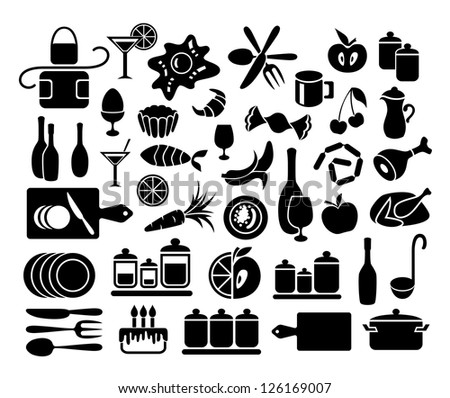 Set of kitchen, cooking and food icons