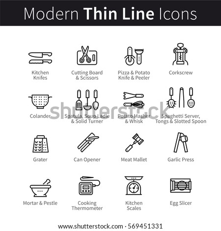 Set of kitchen cookware utensils. Equipment and kitchenware for cooking. Spatulas, knifes, openers & servers. Thin black line art icons. Linear style illustrations isolated on white.