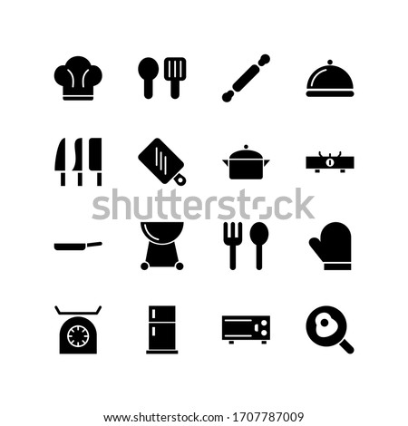 Set of kitchen glyph icon design, such as cutting board, spoon, microwave, knife and others. Black glyph vector icon.