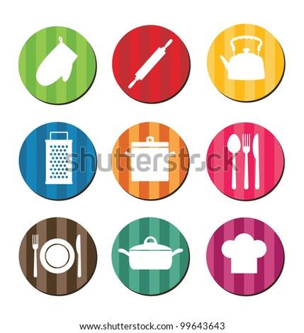 set of kitchen icons.vector illustration