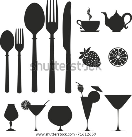 Set Of Kitchen Object. Vector Icon. Isolated On White Background