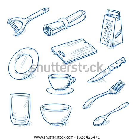 Set of kitchen objects and dishes as: peeler, serviette, glass, cup, cutting board, knife, fork, spoon, plate, bowl and garter.  Hand drawn blue line art cartoon vector illustration.