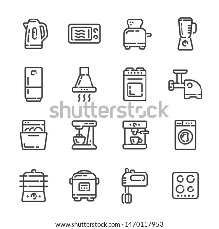 Set of kitchen or cooking appliances outline icons. Vector illustration.