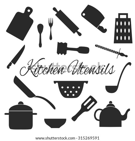 Set of kitchen tools silhouettes vector. Kitchen. Vector icons