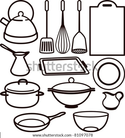 Set Of Kitchen Utensil Stock Vector 81097078 : Shutterstock