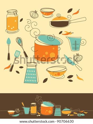 Set of Kitchen utensil in Retro-Styled