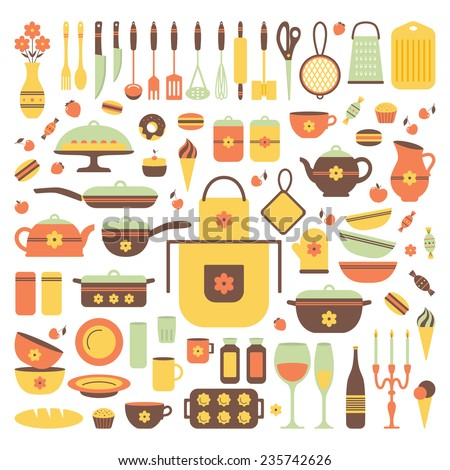 Set Of Kitchen Utensils And Food Isolated Objects Background For A