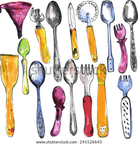 set of kitchen utensils drawing by watercolor and ink, hand drawn vector illustration