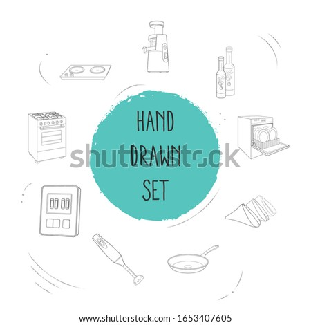 Set of kitchen utensils icons line style symbols with napkins, timer, olive oil and other icons for your web mobile app logo design.