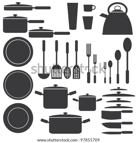Set of kitchen utensils in white and black colours.