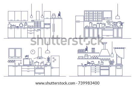 Set of kitchens furnished with modern furniture, household appliances, cooking facilities and home decorations. Bundle of comfy interiors drawn in line art style. Monochrome vector illustration.