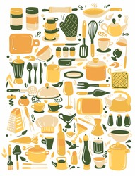 Set of kitchenware and utensils hand drawn vector illustration. Colorful green and yellow modern hand drawn style  isolated on white background. For modern recipe card template set for cookbook.