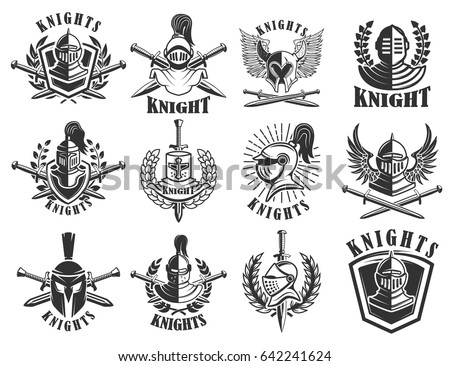 set of knight emblems design