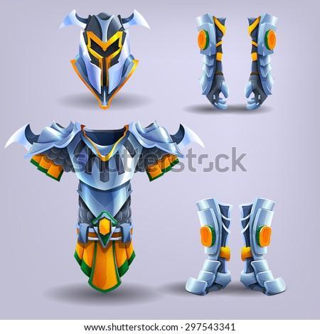 set of knight's armor vector