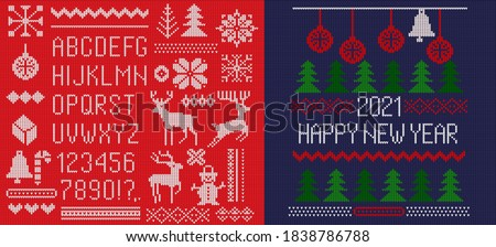 Set of knitted font, 2021 elements and borders for Christmas, New Year or winter design. Ugly sweater style. Sweater ornaments for scandinavian pattern. Vector illustration. Isolated on red background