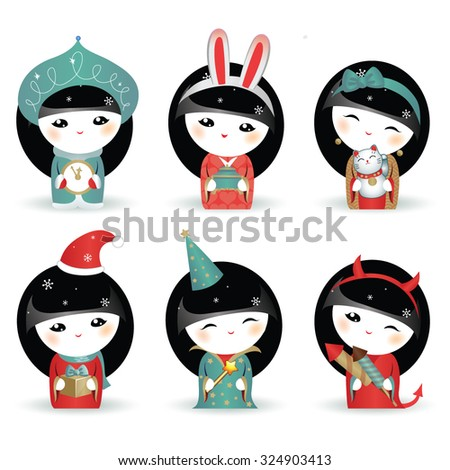 set of kokeshi japanese girls