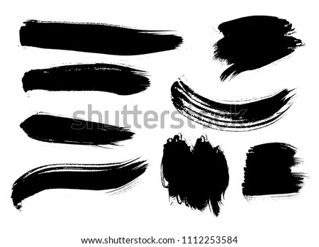 Set of Korean, Chinese, Japanese ink brush strokes. Collection of grungy Oriental design elements for your design