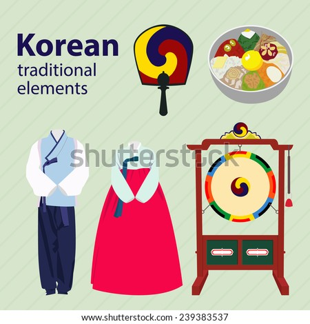 Vector Images Illustrations And Cliparts Set Of Korean Traditional