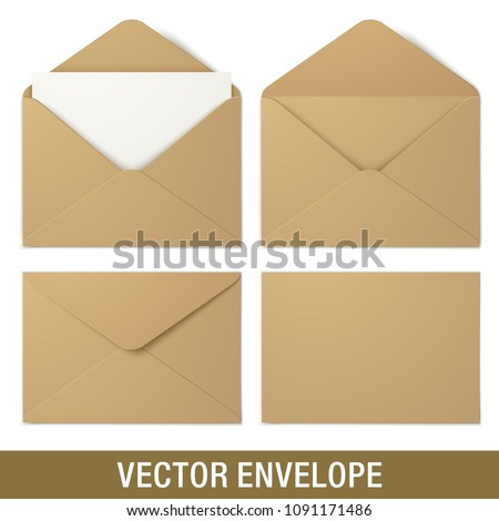 Set of kraft paper vector envelopes in different views, isolated on a white background. Realistic brown vector envelope mockups.