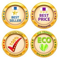 Set of label. Best price,Best seller,Satisfaction guarantee,Eco product label. Vector illustration