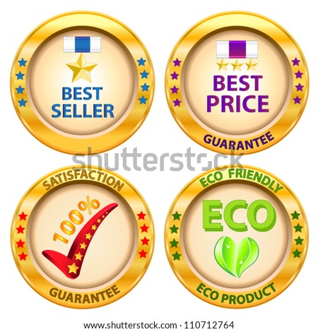 Set of label. Best price,Best seller,Satisfaction guarantee,Eco product label. Vector illustration