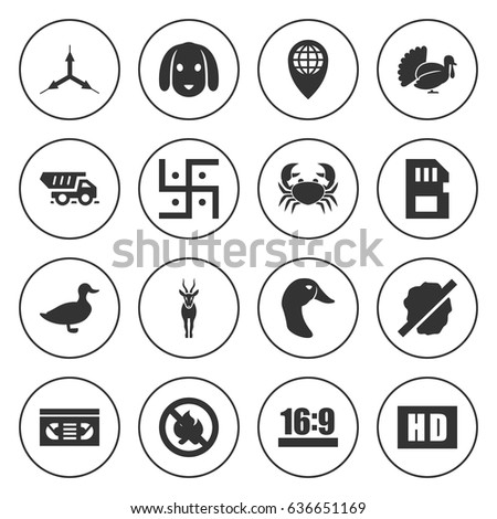 set of 16 label filled icons