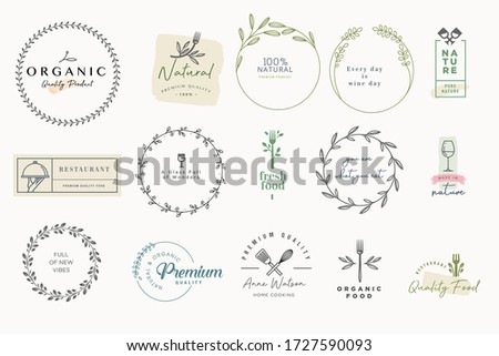Set of labels and badges for food and drink. Vector illustrations for graphic and web design, marketing material, restaurant menu, natural products presentation, packaging design.