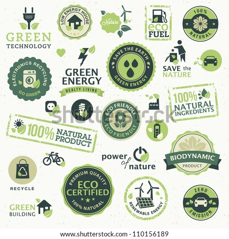 Set of labels and elements for green technology