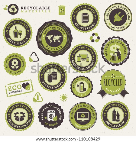 Set of labels and stickers for recycling - stock vector