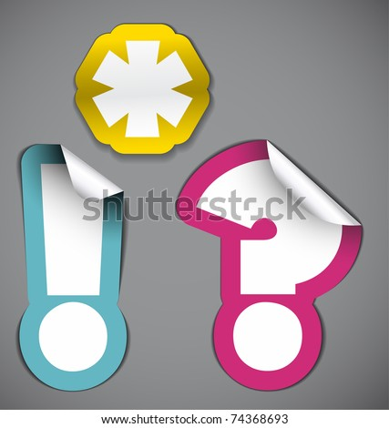 Set of labels - asterisk, exclamation mark and question mark