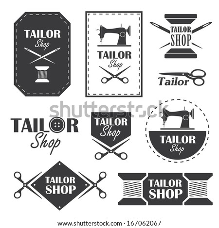 set of labels  badges and signs